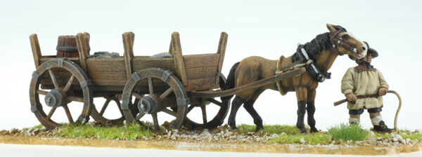 BIC-ECWG015 - 4 wheeled wagon with 1 horse & driver with whip on foot